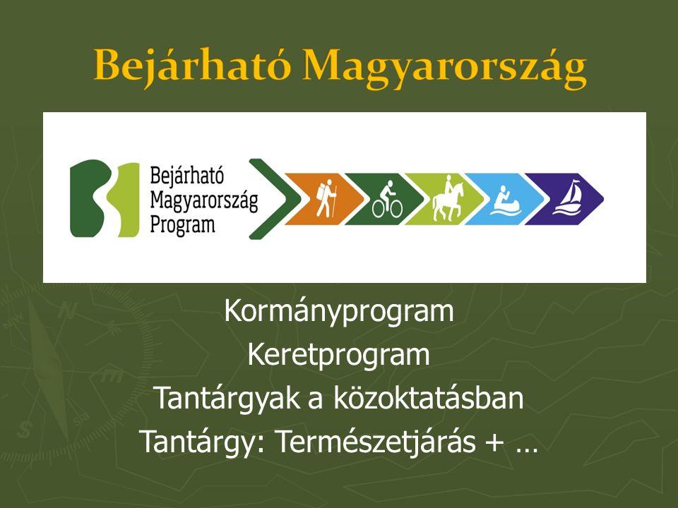 Kormányprogram Keretprogram Tantárgyak a közoktatásban Tantárgy: Természetjárás + …