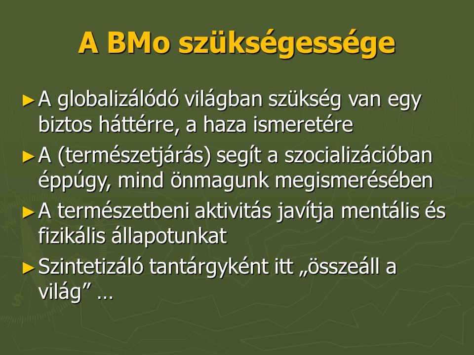 """A BMo szükségessége ► A globalizálódó világban szükség van egy biztos háttérre, a haza ismeretére ► A (természetjárás) segít a szocializációban éppúgy, mind önmagunk megismerésében ► A természetbeni aktivitás javítja mentális és fizikális állapotunkat ► Szintetizáló tantárgyként itt """"összeáll a világ …"""