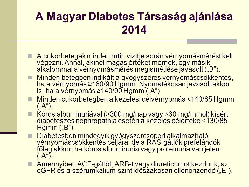 A Magyar Diabetes Társaság ajánlása 2014 A cukorbetegek minden rutin vizitje során vérnyomásmérést kell végezni.