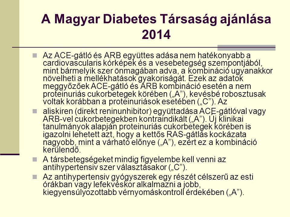 A Magyar Diabetes Társaság ajánlása 2014 Az ACE-gátló és ARB együttes adása nem hatékonyabb a cardiovascularis kórképek és a vesebetegség szempontjából, mint bármelyik szer önmagában adva, a kombináció ugyanakkor növelheti a mellékhatások gyakoriságát.