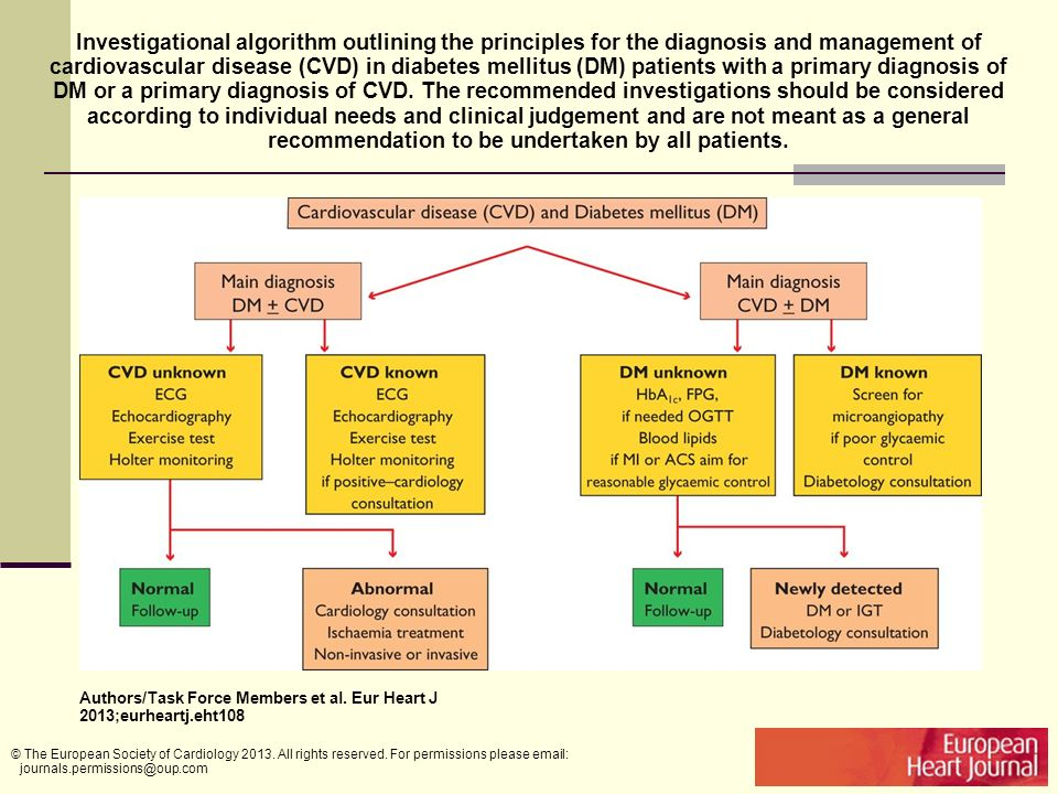 Investigational algorithm outlining the principles for the diagnosis and management of cardiovascular disease (CVD) in diabetes mellitus (DM) patients