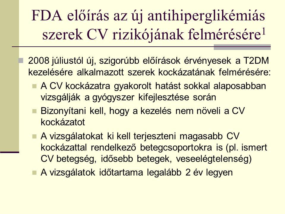 FDA előírás az új antihiperglikémiás szerek CV rizikójának felmérésére 1 2008 júliustól új, szigorúbb előírások érvényesek a T2DM kezelésére alkalmazott szerek kockázatának felmérésére: A CV kockázatra gyakorolt hatást sokkal alaposabban vizsgálják a gyógyszer kifejlesztése során Bizonyítani kell, hogy a kezelés nem növeli a CV kockázatot A vizsgálatokat ki kell terjeszteni magasabb CV kockázattal rendelkező betegcsoportokra is (pl.