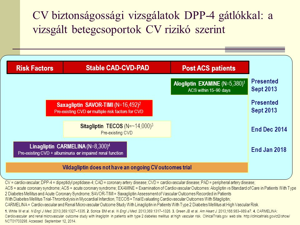 CV = cardiovascular; DPP-4 = dipeptidyl peptidase-4; CAD = coronary artery disease; CVD = cardiovascular disease; PAD = peripheral artery disease; ACS = acute coronary syndrome; ACS = acute coronary syndrome; EXAMINE = Examination of Cardiovascular Outcomes: Alogliptin vs Standard of Care in Patients With Type 2 Diabetes Mellitus and Acute Coronary Syndrome; SAVOR-TIMI = Saxagliptin Assessment of Vascular Outcomes Recorded in Patients With Diabetes Mellitus Trial-Thrombolysis in Myocardial Infarction; TECOS = Trial Evaluating Cardiovascular Outcomes With Sitagliptin; CARMELINA = Cardiovascular and Renal Microvascular Outcome Study With Linagliptin in Patients With Type 2 Diabetes Mellitus at High Vascular Risk.