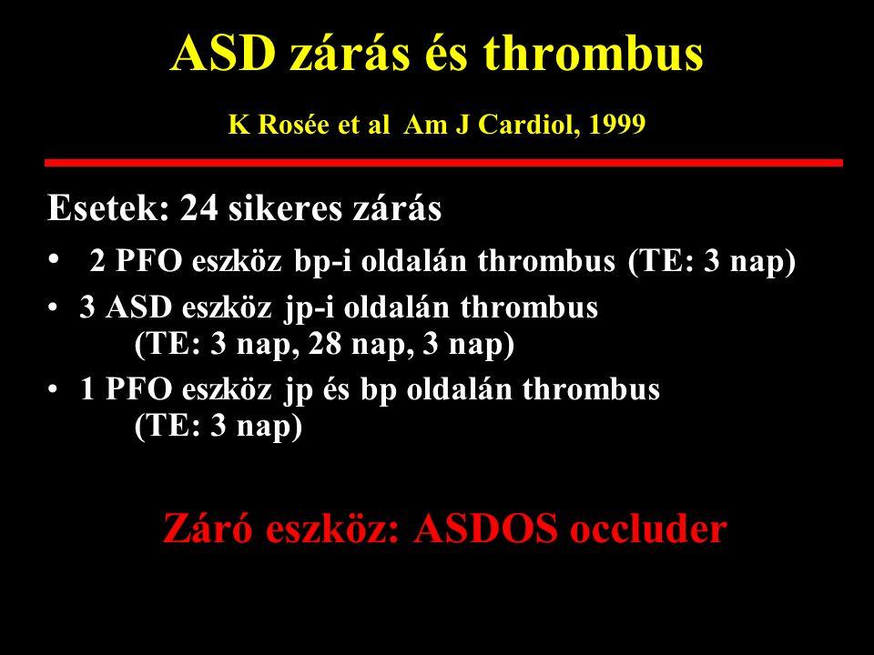 ASD és pulmonalis hypertonia Lezo et al Am Heart J 2002 29 beteg, életkora 56 +/- 14 év Jobb kamrai systolés nyomás: 65+/- 23 hgmm Qp/Qs: 1,8 +/- 0,5