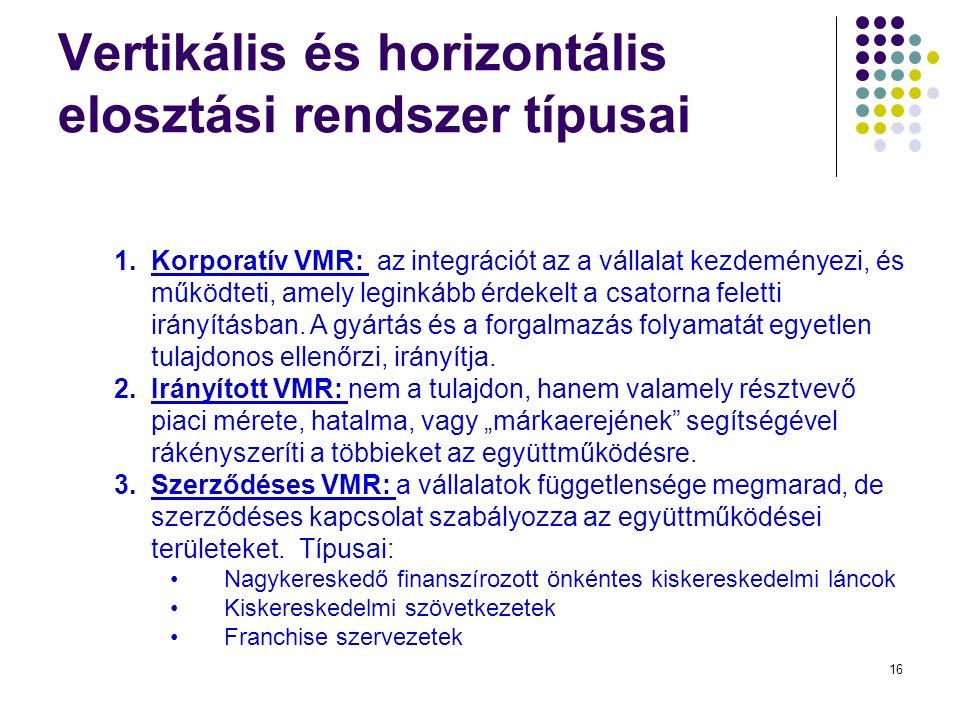 16 Vertikális és horizontális elosztási rendszer típusai 1.Korporatív VMR: az integrációt az a vállalat kezdeményezi, és működteti, amely leginkább érdekelt a csatorna feletti irányításban.