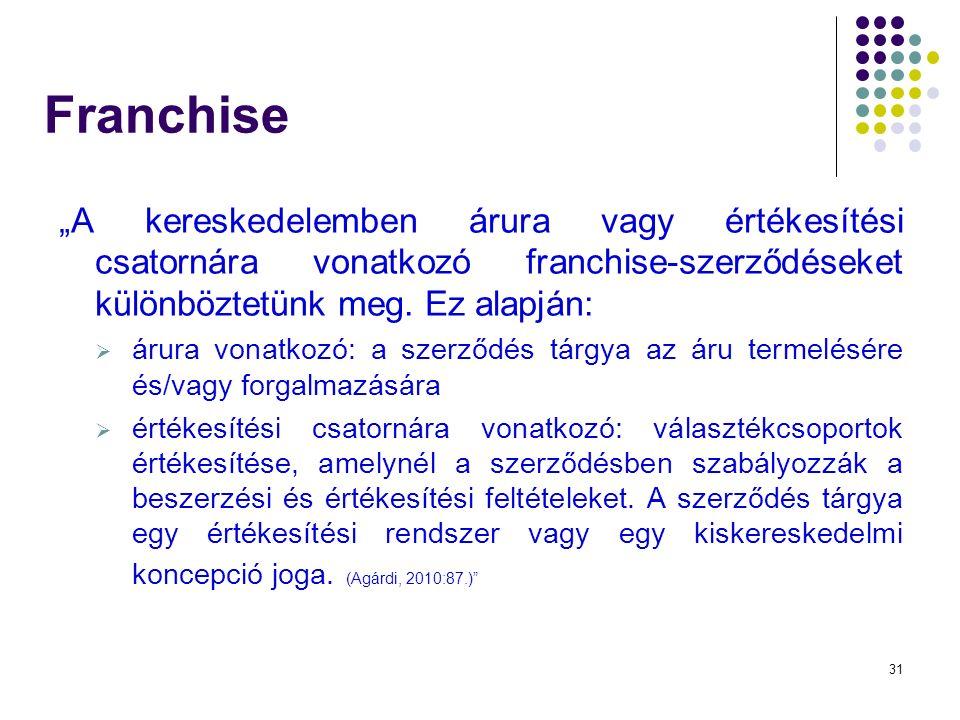 """31 Franchise """"A kereskedelemben árura vagy értékesítési csatornára vonatkozó franchise-szerződéseket különböztetünk meg."""