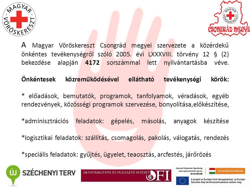 A Magyar Vöröskereszt Csongrád megyei szervezete a közérdekű önkéntes tevékenységről szóló 2005. évi LXXXVIII. törvény 12 § (2) bekezdése alapján 4172