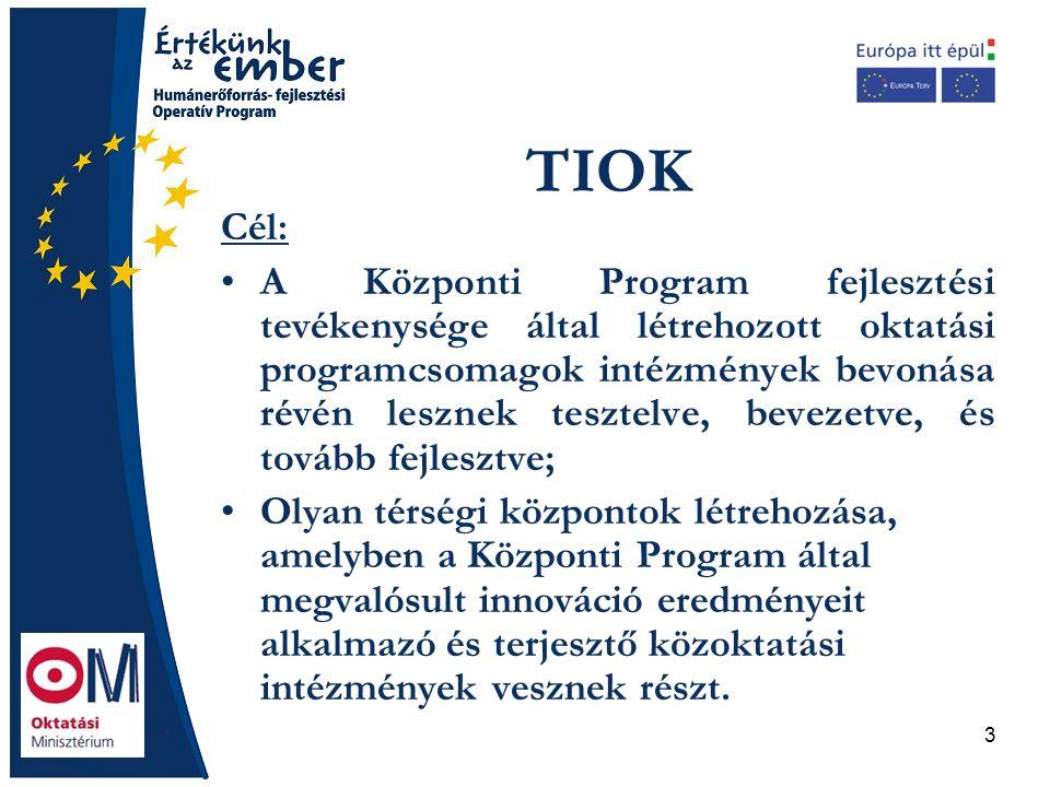 3 TIOK Cél: A Központi Program fejlesztési tevékenysége által létrehozott oktatási programcsomagok intézmények bevonása révén lesznek tesztelve, bevezetve, és tovább fejlesztve; Olyan térségi központok létrehozása, amelyben a Központi Program által megvalósult innováció eredményeit alkalmazó és terjesztő közoktatási intézmények vesznek részt.