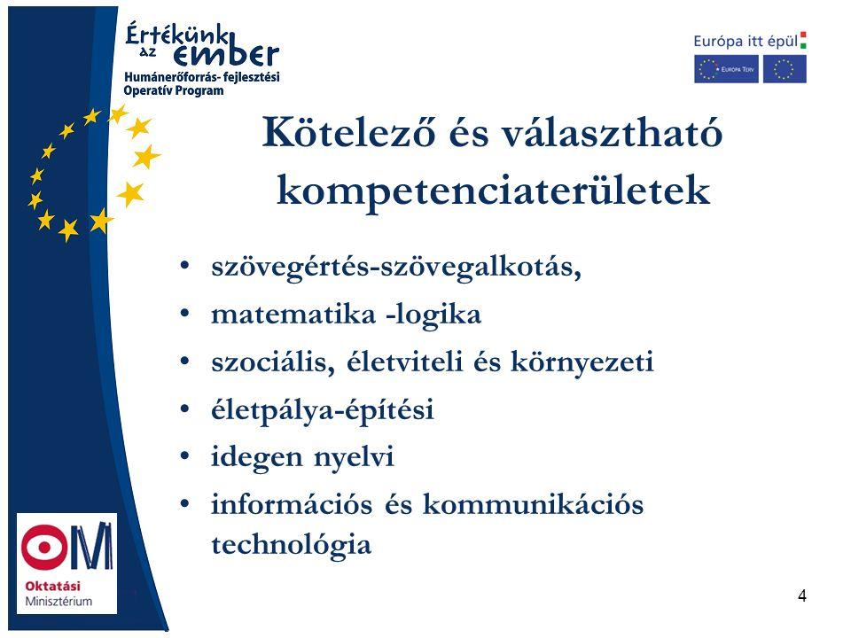 4 Kötelező és választható kompetenciaterületek szövegértés-szövegalkotás, matematika -logika szociális, életviteli és környezeti életpálya-építési idegen nyelvi információs és kommunikációs technológia