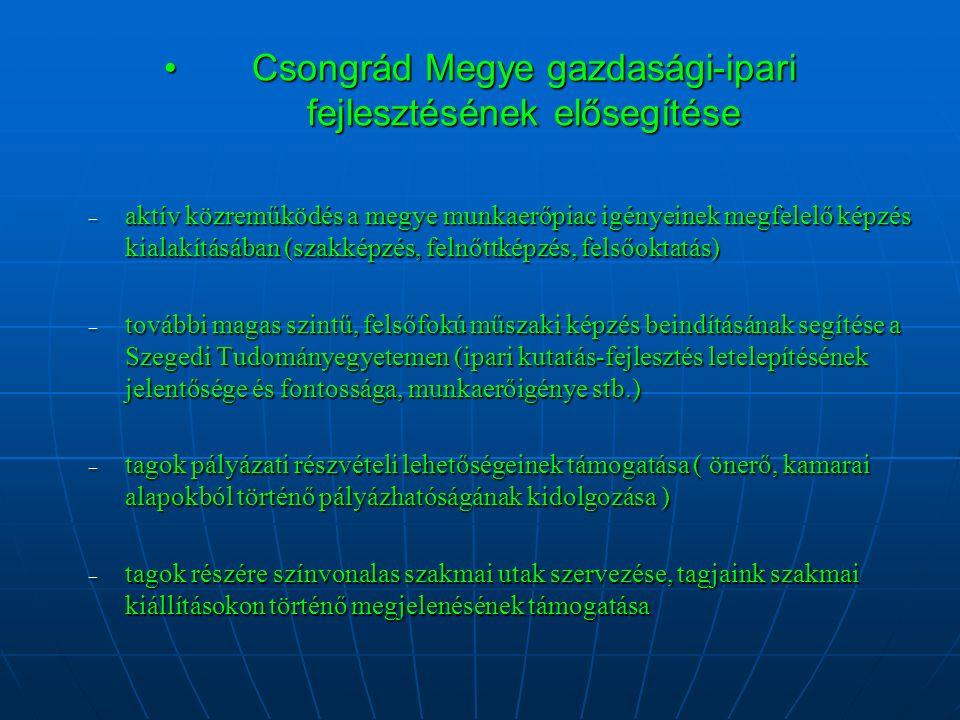 Csongrád Megye gazdasági-ipari fejlesztésének elősegítéseCsongrád Megye gazdasági-ipari fejlesztésének elősegítése – aktív közreműködés a megye munkaerőpiac igényeinek megfelelő képzés kialakításában (szakképzés, felnőttképzés, felsőoktatás) – további magas szintű, felsőfokú műszaki képzés beindításának segítése a Szegedi Tudományegyetemen (ipari kutatás-fejlesztés letelepítésének jelentősége és fontossága, munkaerőigénye stb.) – tagok pályázati részvételi lehetőségeinek támogatása ( önerő, kamarai alapokból történő pályázhatóságának kidolgozása ) – tagok részére színvonalas szakmai utak szervezése, tagjaink szakmai kiállításokon történő megjelenésének támogatása