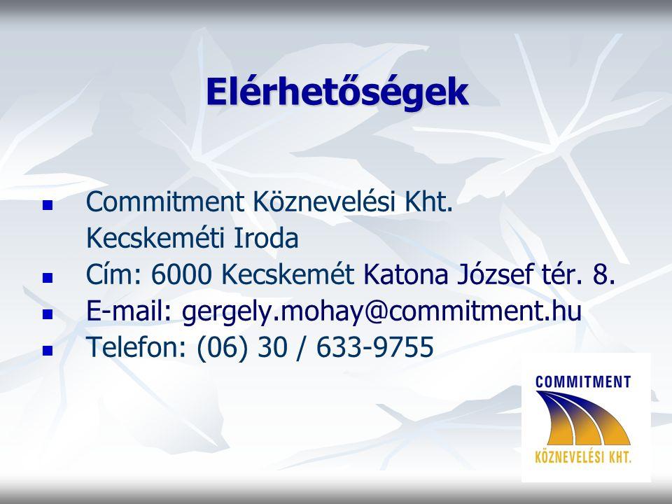 Elérhetőségek Commitment Köznevelési Kht. Kecskeméti Iroda Cím: 6000 Kecskemét Katona József tér.