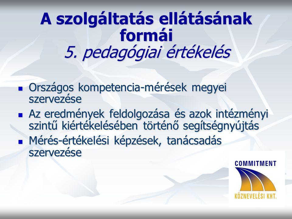 A szolgáltatás ellátásának formái 5.