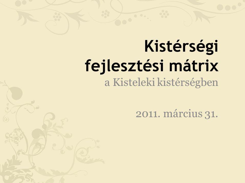 Kistérségi fejlesztési mátrix a Kisteleki kistérségben 2011. március 31.