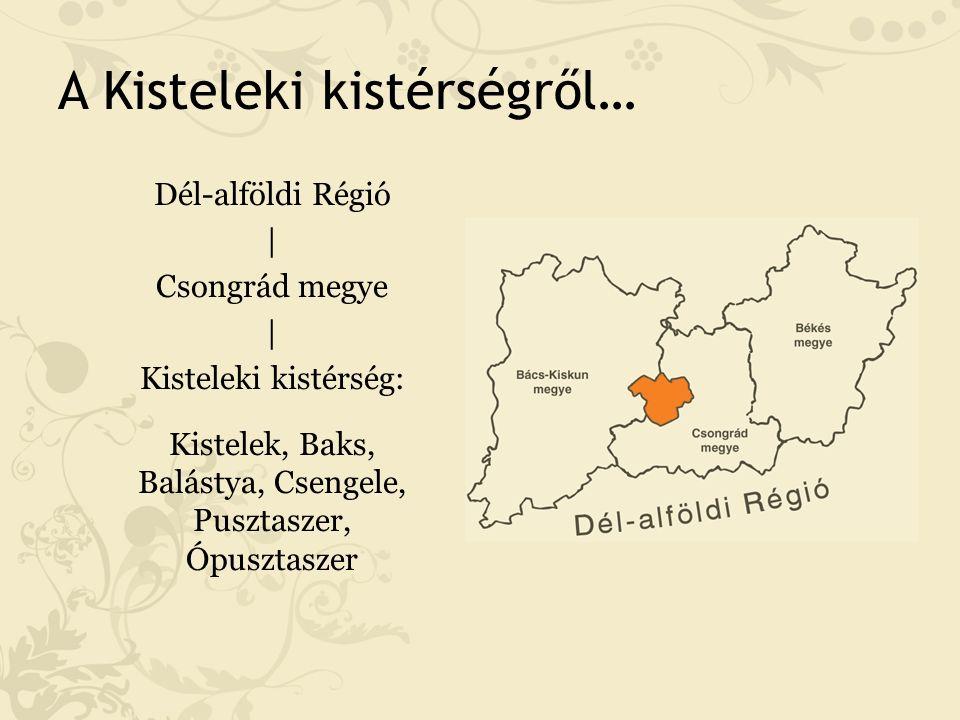 A Kisteleki kistérségről… Dél-alföldi Régió | Csongrád megye | Kisteleki kistérség: Kistelek, Baks, Balástya, Csengele, Pusztaszer, Ópusztaszer