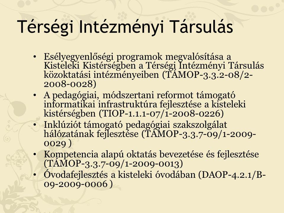 Térségi Intézményi Társulás Esélyegyenlőségi programok megvalósítása a Kisteleki Kistérségben a Térségi Intézményi Társulás közoktatási intézményeiben (TÁMOP-3.3.2-08/2- 2008-0028) A pedagógiai, módszertani reformot támogató informatikai infrastruktúra fejlesztése a kisteleki kistérségben (TIOP-1.1.1-07/1-2008-0226) Inklúziót támogató pedagógiai szakszolgálat hálózatának fejlesztése (TÁMOP-3.3.7-09/1-2009- 0029 ) Kompetencia alapú oktatás bevezetése és fejlesztése (TÁMOP-3.3.7-09/1-2009-0013) Óvodafejlesztés a kisteleki óvodában (DAOP-4.2.1/B- 09-2009-0006 )