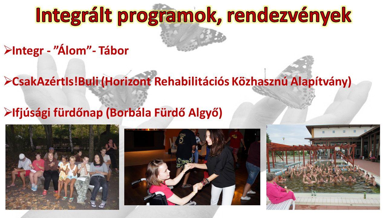 Integr - Álom - Tábor  CsakAzértIs!Buli (Horizont Rehabilitációs Közhasznú Alapítvány)  Ifjúsági fürdőnap (Borbála Fürdő Algyő)