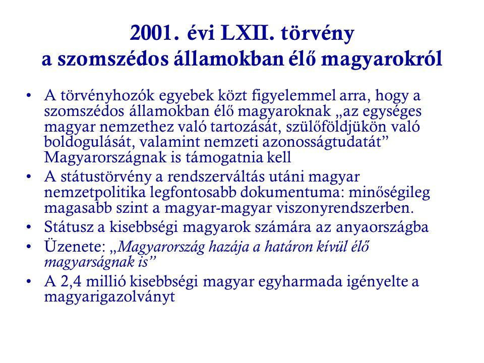 2001. évi LXII. törvény a szomszédos államokban él ő magyarokról A törvényhozók egyebek közt figyelemmel arra, hogy a szomszédos államokban él ő magya