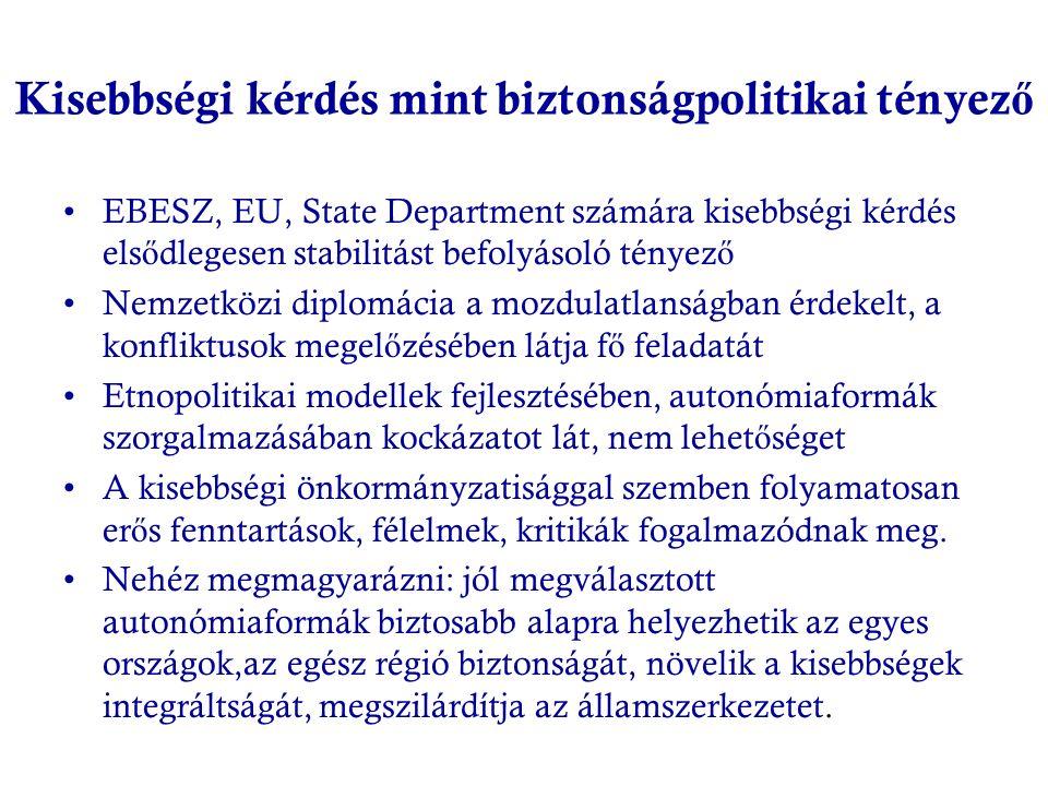 Kisebbségi kérdés mint biztonságpolitikai tényez ő EBESZ, EU, State Department számára kisebbségi kérdés els ő dlegesen stabilitást befolyásoló tényez