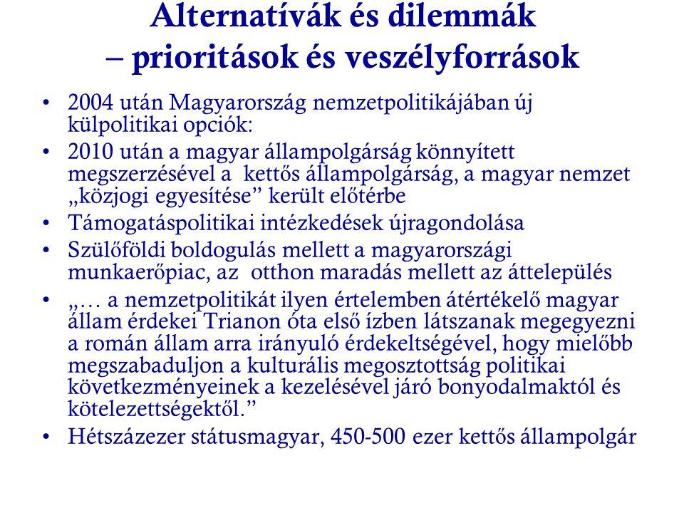 Alternatívák és dilemmák – prioritások és veszélyforrások 2004 után Magyarország nemzetpolitikájában új külpolitikai opciók: 2010 után a magyar államp