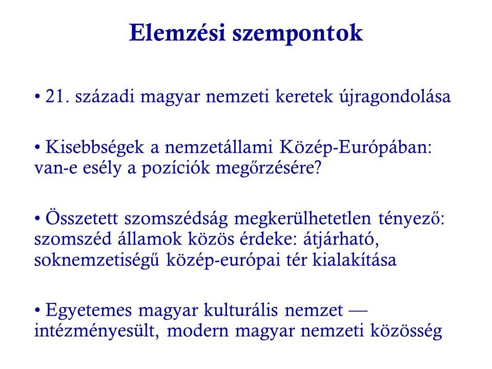 Elemzési szempontok 21. századi magyar nemzeti keretek újragondolása Kisebbségek a nemzetállami Közép-Európában: van-e esély a pozíciók meg ő rzésére?