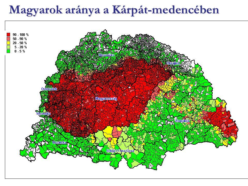 Magyarok aránya a Kárpát-medencében
