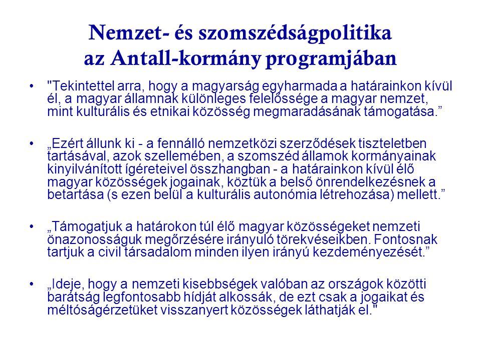 Nemzet- és szomszédságpolitika az Antall-kormány programjában