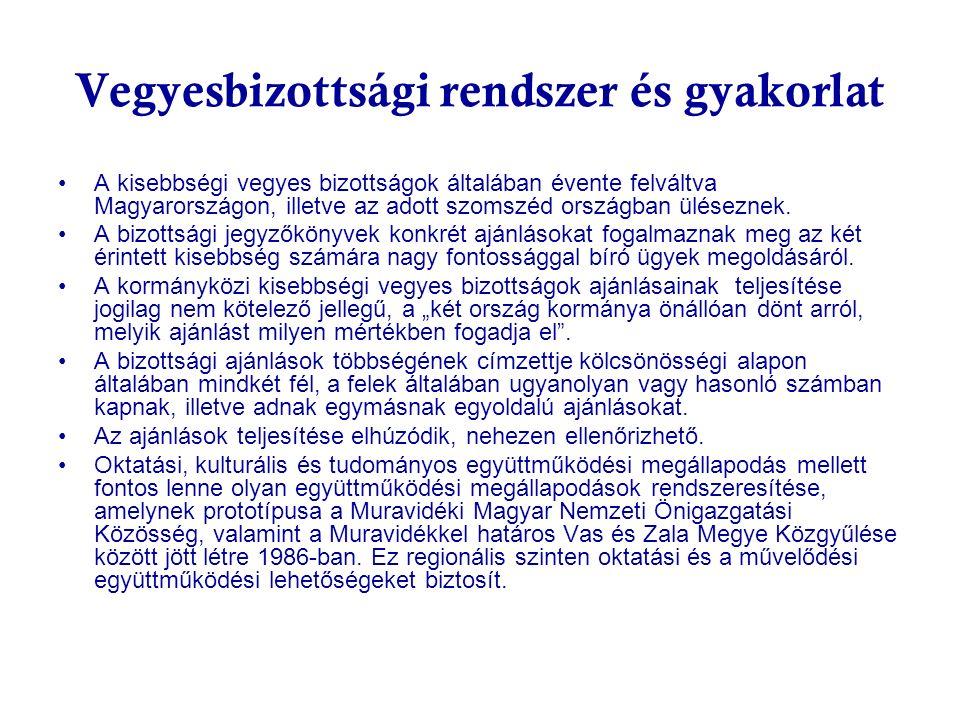 Vegyesbizottsági rendszer és gyakorlat A kisebbségi vegyes bizottságok általában évente felváltva Magyarországon, illetve az adott szomszéd országban