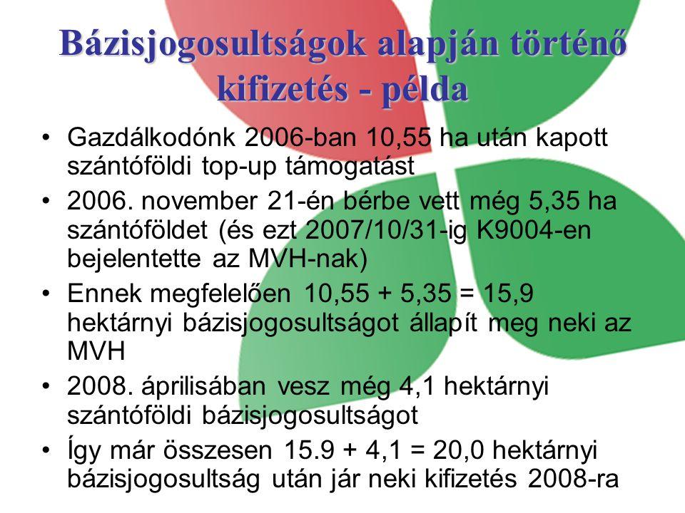 Bázisjogosultságok alapján történő kifizetés - példa Gazdálkodónk 2006-ban 10,55 ha után kapott szántóföldi top-up támogatást 2006.