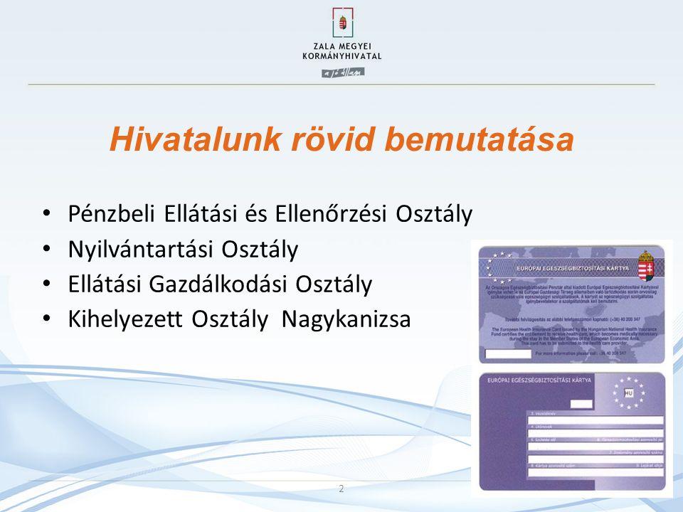 Hivatalunk rövid bemutatása Pénzbeli Ellátási és Ellenőrzési Osztály Nyilvántartási Osztály Ellátási Gazdálkodási Osztály Kihelyezett Osztály Nagykanizsa 2