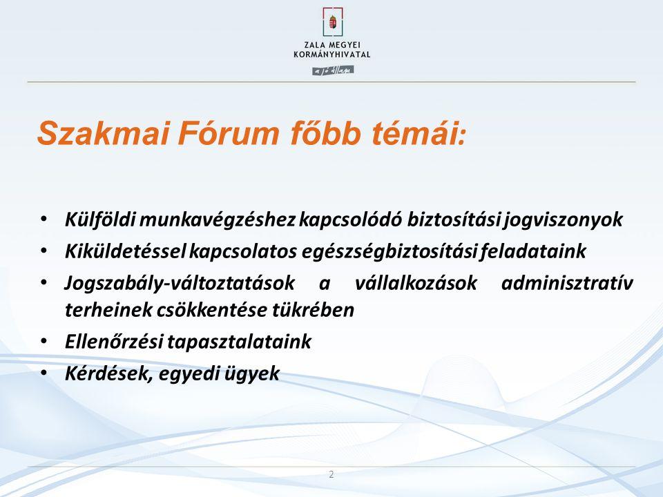 Szakmai Fórum főbb témái : Külföldi munkavégzéshez kapcsolódó biztosítási jogviszonyok Kiküldetéssel kapcsolatos egészségbiztosítási feladataink Jogszabály-változtatások a vállalkozások adminisztratív terheinek csökkentése tükrében Ellenőrzési tapasztalataink Kérdések, egyedi ügyek 2