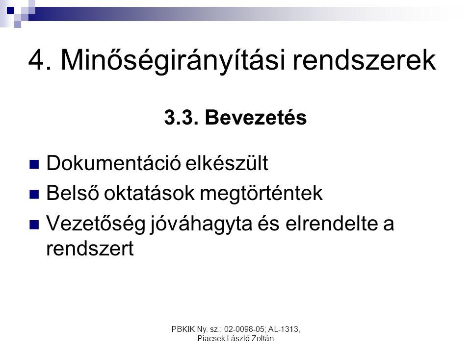 PBKIK Ny. sz.: 02-0098-05; AL-1313, Piacsek László Zoltán 4. Minőségirányítási rendszerek 3.3. Bevezetés Dokumentáció elkészült Belső oktatások megtör