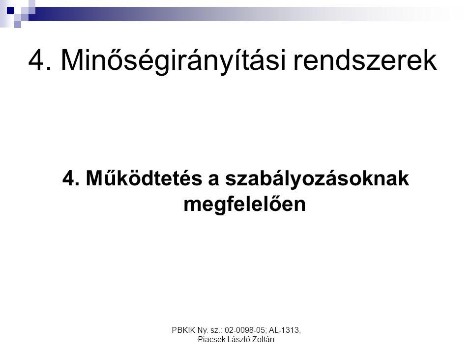 PBKIK Ny. sz.: 02-0098-05; AL-1313, Piacsek László Zoltán 4. Minőségirányítási rendszerek 4. Működtetés a szabályozásoknak megfelelően