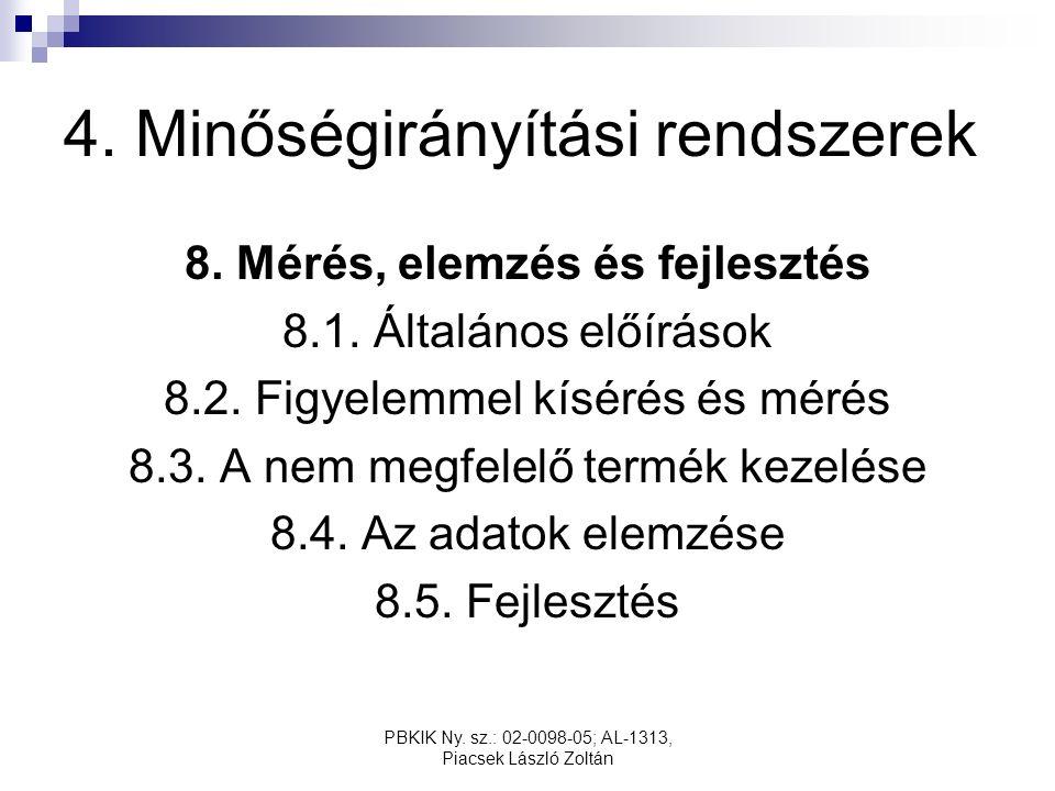PBKIK Ny. sz.: 02-0098-05; AL-1313, Piacsek László Zoltán 4. Minőségirányítási rendszerek 8. Mérés, elemzés és fejlesztés 8.1. Általános előírások 8.2