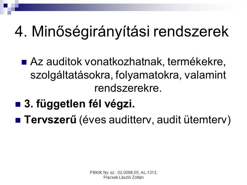PBKIK Ny. sz.: 02-0098-05; AL-1313, Piacsek László Zoltán 4. Minőségirányítási rendszerek Az auditok vonatkozhatnak, termékekre, szolgáltatásokra, fol