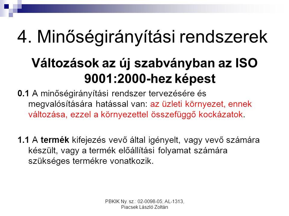 PBKIK Ny. sz.: 02-0098-05; AL-1313, Piacsek László Zoltán 4. Minőségirányítási rendszerek Változások az új szabványban az ISO 9001:2000-hez képest 0.1
