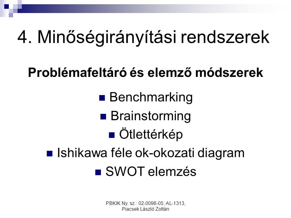 PBKIK Ny. sz.: 02-0098-05; AL-1313, Piacsek László Zoltán 4. Minőségirányítási rendszerek Problémafeltáró és elemző módszerek Benchmarking Brainstormi