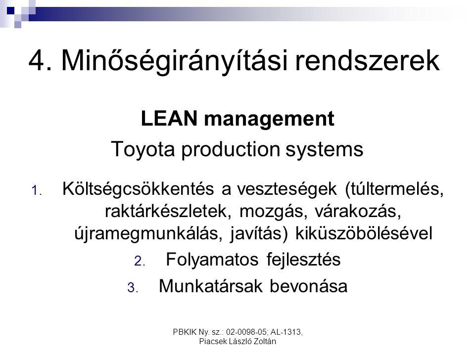 PBKIK Ny. sz.: 02-0098-05; AL-1313, Piacsek László Zoltán 4. Minőségirányítási rendszerek LEAN management Toyota production systems 1. Költségcsökkent