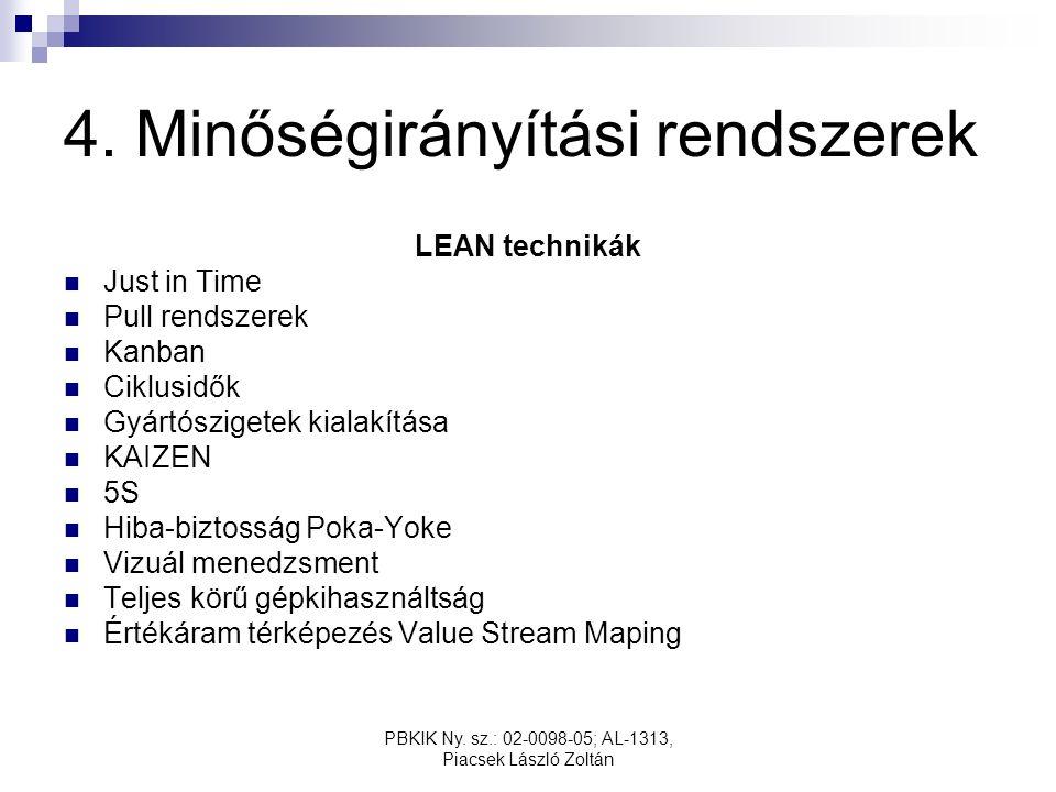 PBKIK Ny. sz.: 02-0098-05; AL-1313, Piacsek László Zoltán 4. Minőségirányítási rendszerek LEAN technikák Just in Time Pull rendszerek Kanban Ciklusidő