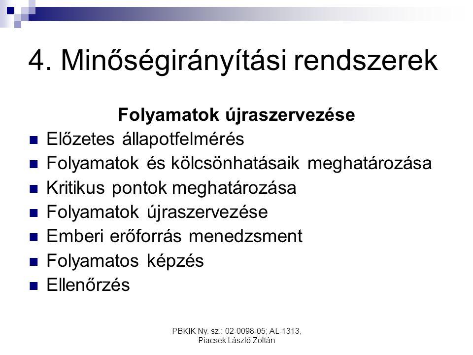 PBKIK Ny. sz.: 02-0098-05; AL-1313, Piacsek László Zoltán 4. Minőségirányítási rendszerek Folyamatok újraszervezése Előzetes állapotfelmérés Folyamato