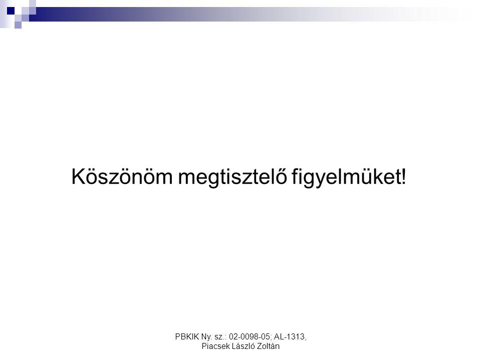PBKIK Ny. sz.: 02-0098-05; AL-1313, Piacsek László Zoltán Köszönöm megtisztelő figyelmüket!