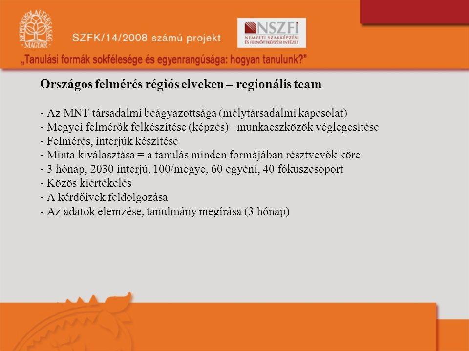 Országos felmérés régiós elveken – regionális team - Az MNT társadalmi beágyazottsága (mélytársadalmi kapcsolat) - Megyei felmérők felkészítése (képzé