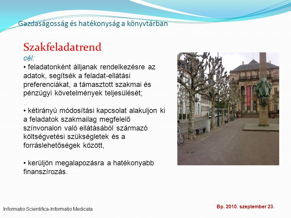 Gazdaságosság és hatékonyság a könyvtárban Informatio Scientifica-Informatio Medicata Bp. 2010. szeptember 23. Szakfeladatrend cél: feladatonként állj