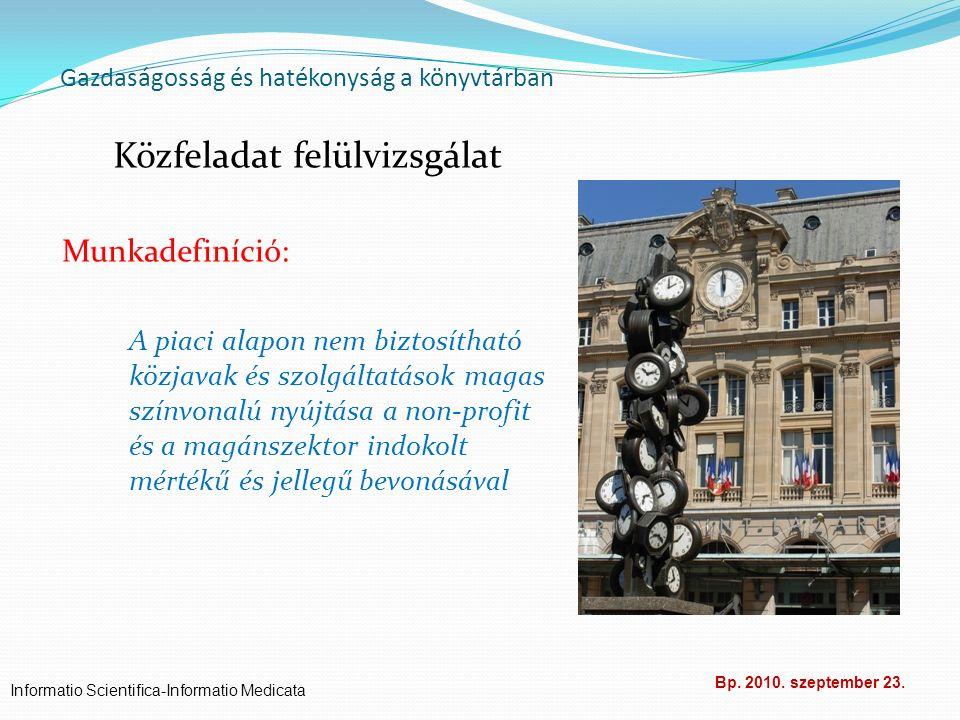 Gazdaságosság és hatékonyság a könyvtárban Közfeladat felülvizsgálat Munkadefiníció: A piaci alapon nem biztosítható közjavak és szolgáltatások magas