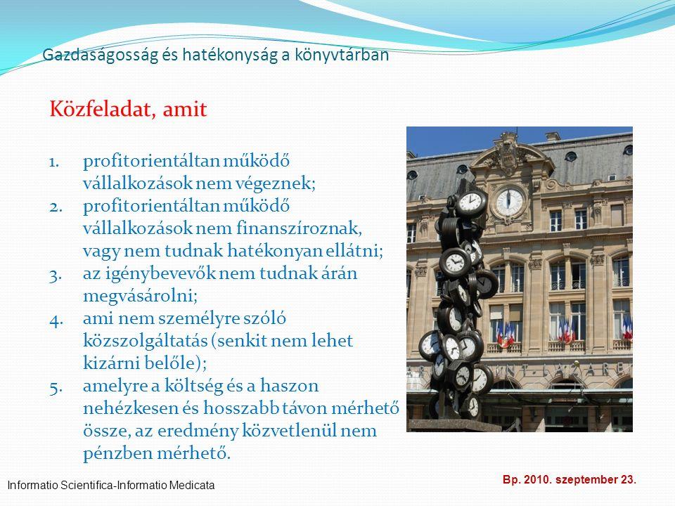 Gazdaságosság és hatékonyság a könyvtárban Informatio Scientifica-Informatio Medicata Bp. 2010. szeptember 23. Közfeladat, amit 1.profitorientáltan mű