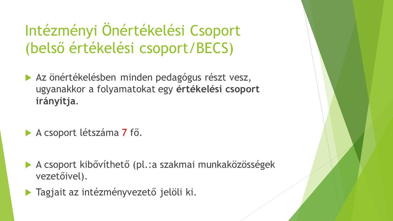 Intézményi Önértékelési Csoport (belső értékelési csoport/BECS)  Az önértékelésben minden pedagógus részt vesz, ugyanakkor a folyamatokat egy értékelési csoport irányítja.