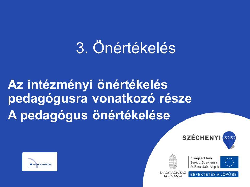 3. Önértékelés Az intézményi önértékelés pedagógusra vonatkozó része A pedagógus önértékelése