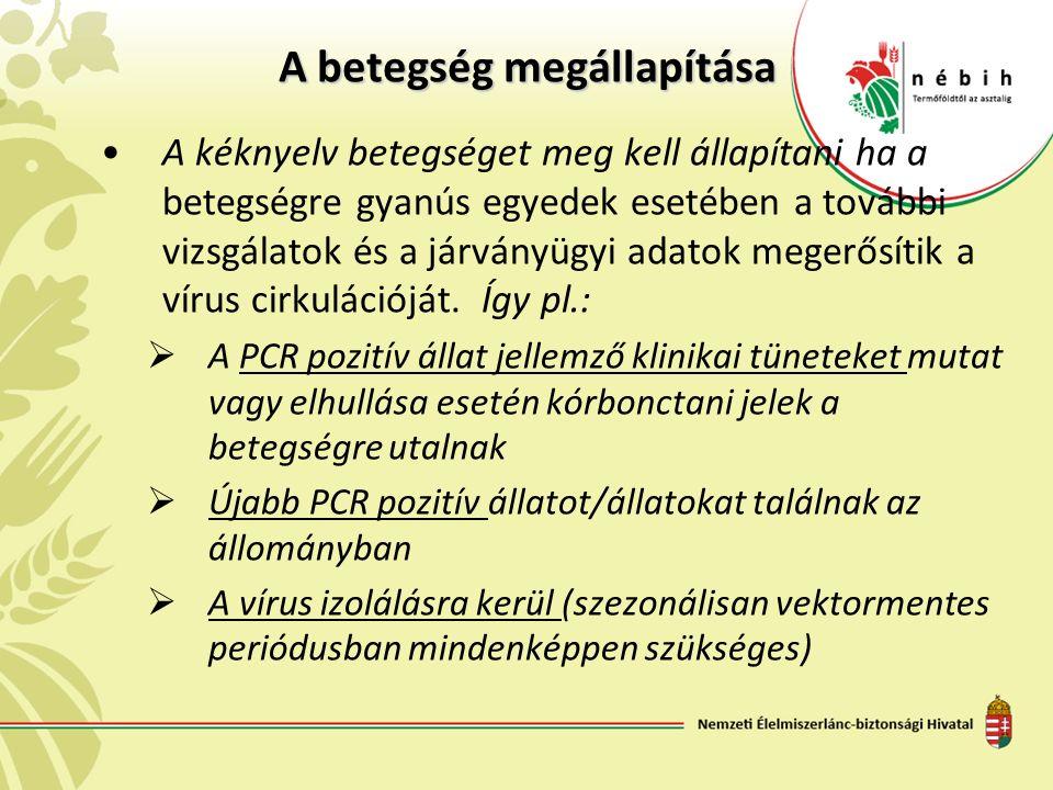 A betegség megállapítása A kéknyelv betegséget meg kell állapítani ha a betegségre gyanús egyedek esetében a további vizsgálatok és a járványügyi adatok megerősítik a vírus cirkulációját.