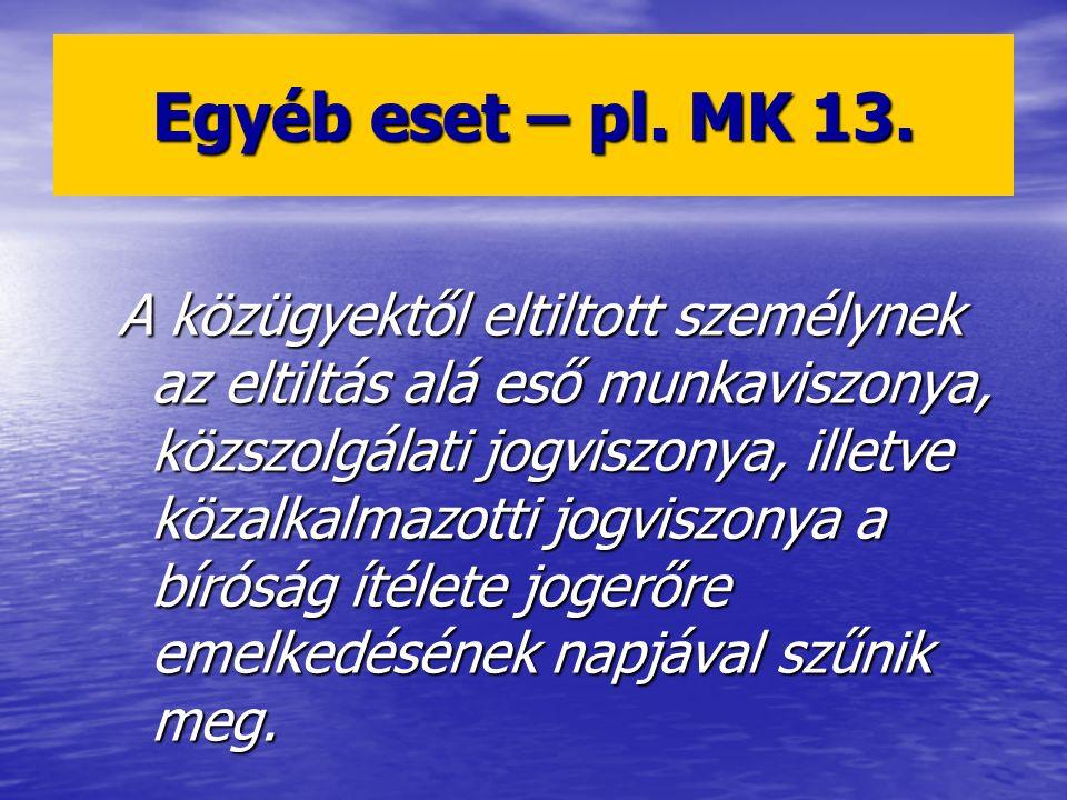 Egyéb eset – pl. MK 13.