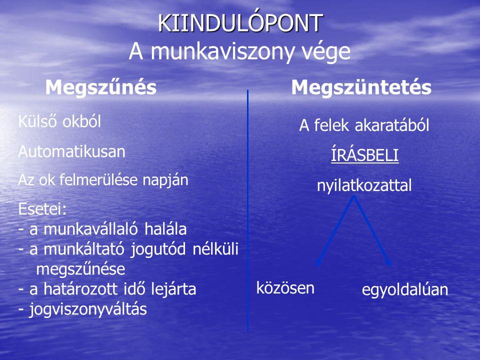 1.LEGYEN VILÁGOS - A munkavállaló megérti-e belőle, miért szüntetik meg a munkaviszonyt.