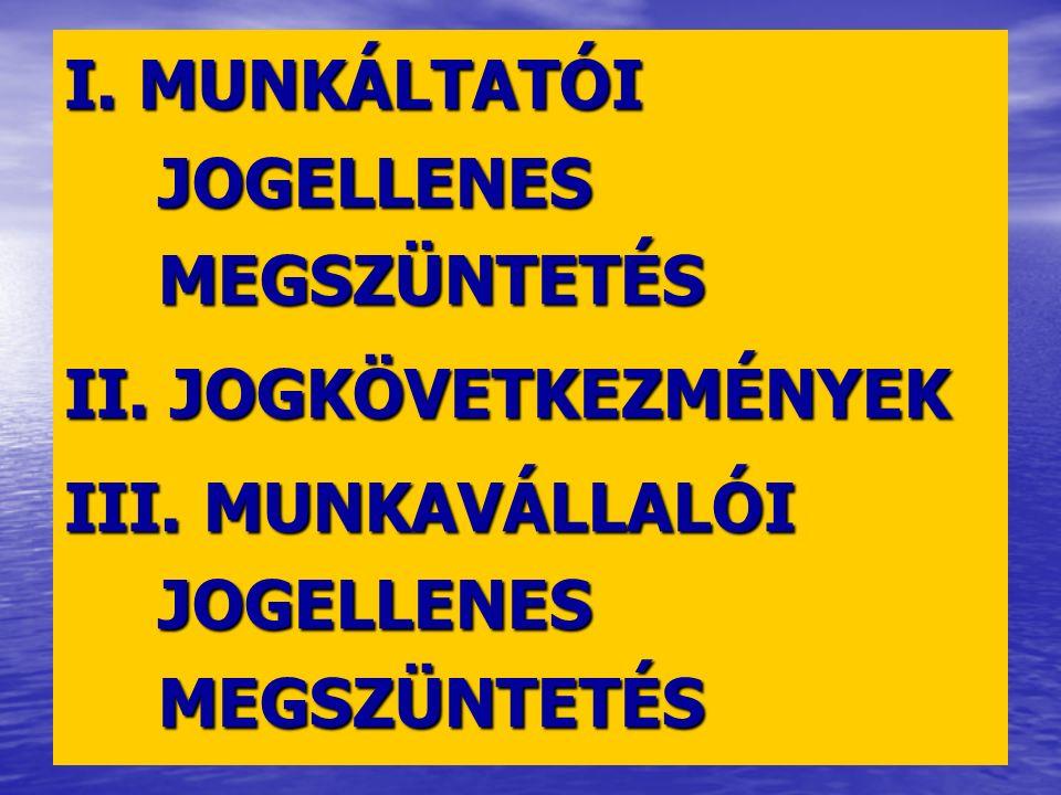 I. MUNKÁLTATÓI JOGELLENES MEGSZÜNTETÉS II. JOGKÖVETKEZMÉNYEK III.